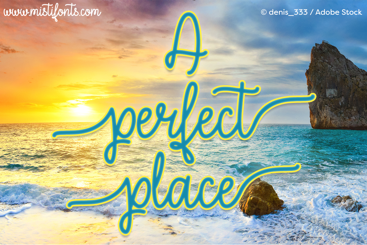 A Perfect Place by Misti's Fonts. Image credit: © denis_333 / Adobe Stock