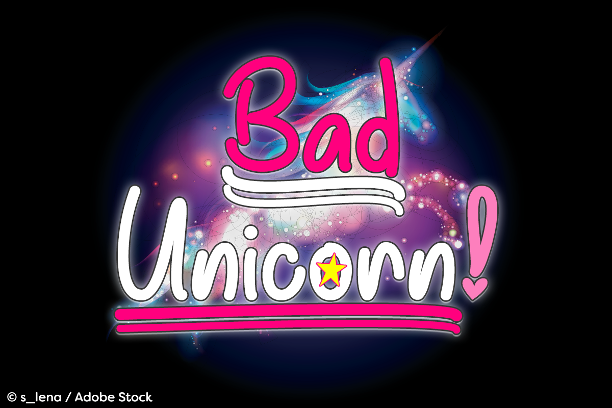 Bad Unicorn by Misti's Fonts. Image credit: © s_lena / Adobe Stock