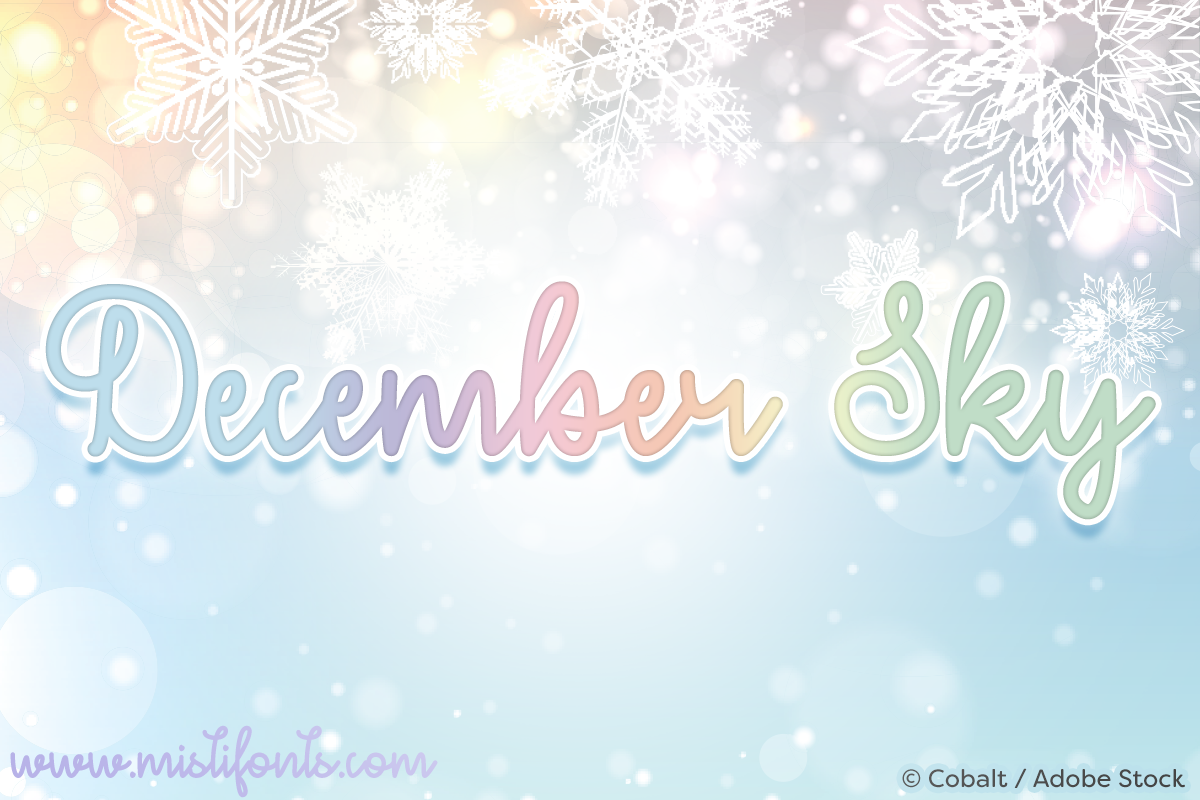 December Sky by Misti's Fonts. Image credit: © Cobalt / Adobe Stock