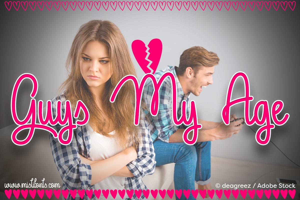 Guys My Age by Misti's Fonts. Image credit: © © deagreez / Adobe Stock