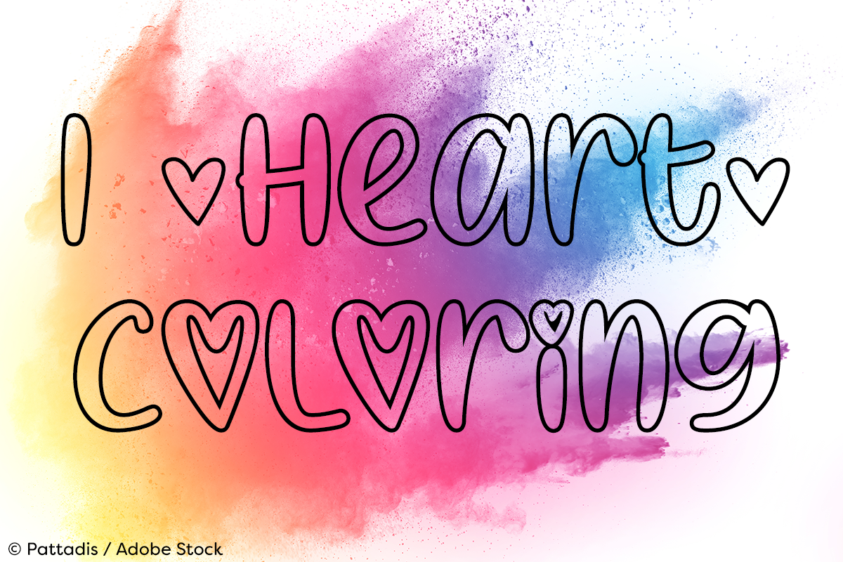 I Heart Coloring by Misti's Fonts. Image credit: © Pattadis / Adobe Stock