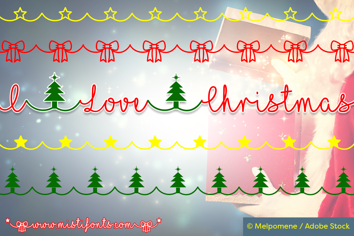 I Love Christmas Font by Misti's Fonts. Image Credit: © Melpomene / Adobe Stock