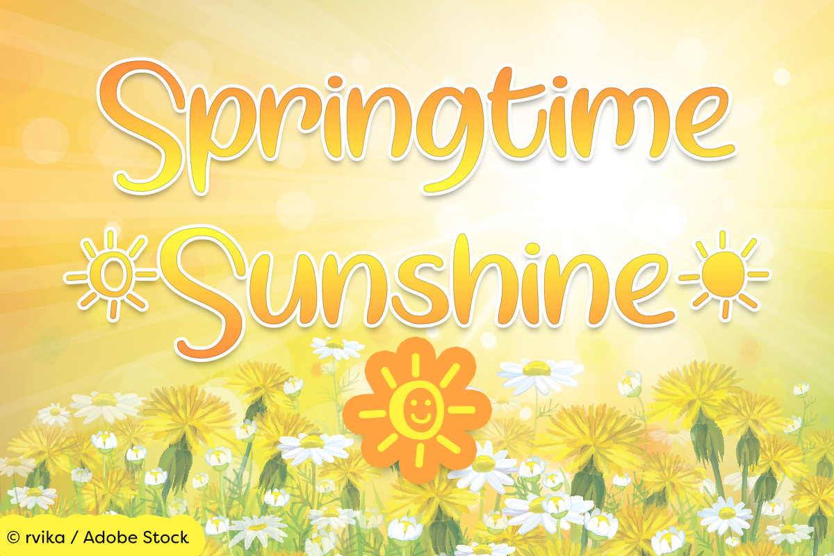 Springtime Sunshine by Misti's Fonts. Image credit: © rvika / Adobe Stock