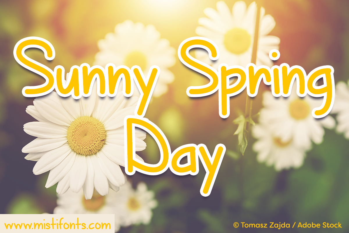 Sunny Spring Day by Misti's Fonts. Image Credit: © Tomasz Zajda / Adobe Stock