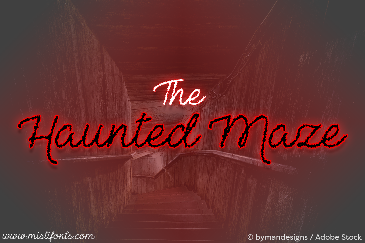 The Haunted Maze by Misti's Fonts. Image credit: © bymandesigns / Adobe Stock