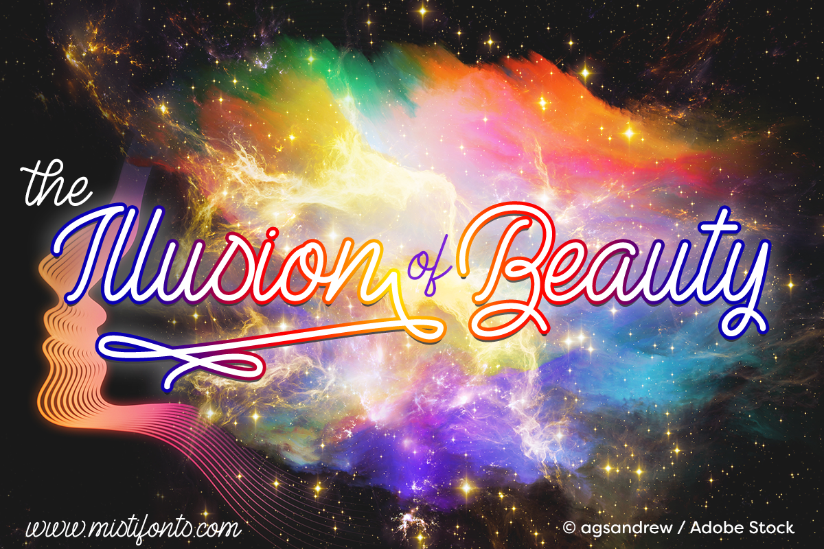 The Illusion of Beauty by Misti's Fonts. Image credit: © agsandrew / Adobe Stock