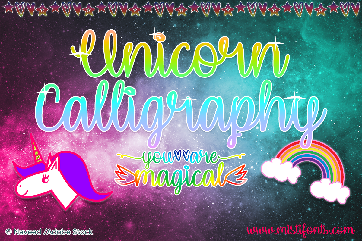 Unicorn Calligraphy by Misti's Fonts. Image credit: © Naveed / Adobe Stock