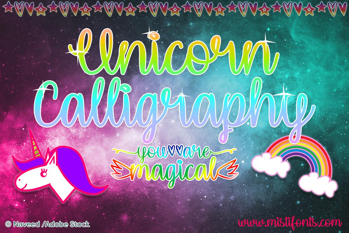 Unicorn Calligraphy by Misti's Fonts. Image credit: © Naveed / Adobe Stock