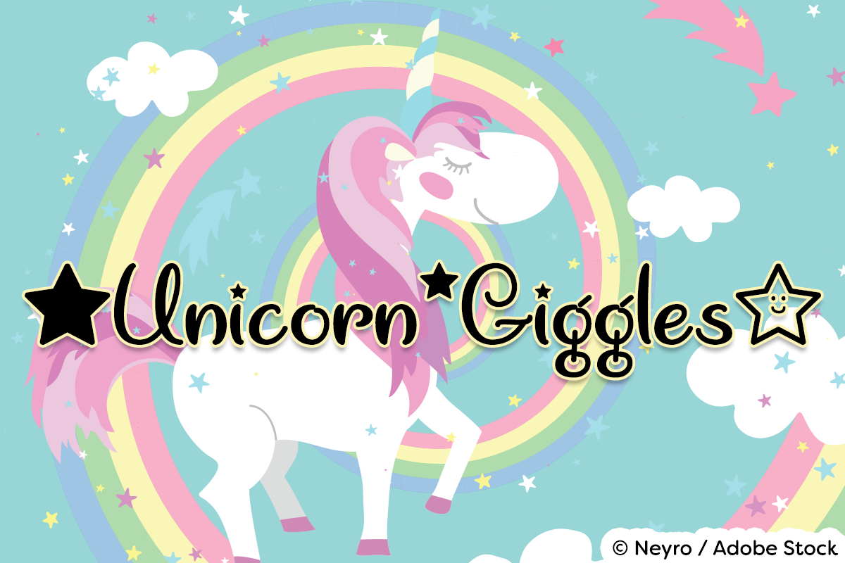 Unicorn Giggles by Misti's Fonts. Image credit: © Neyro / Adobe Stock