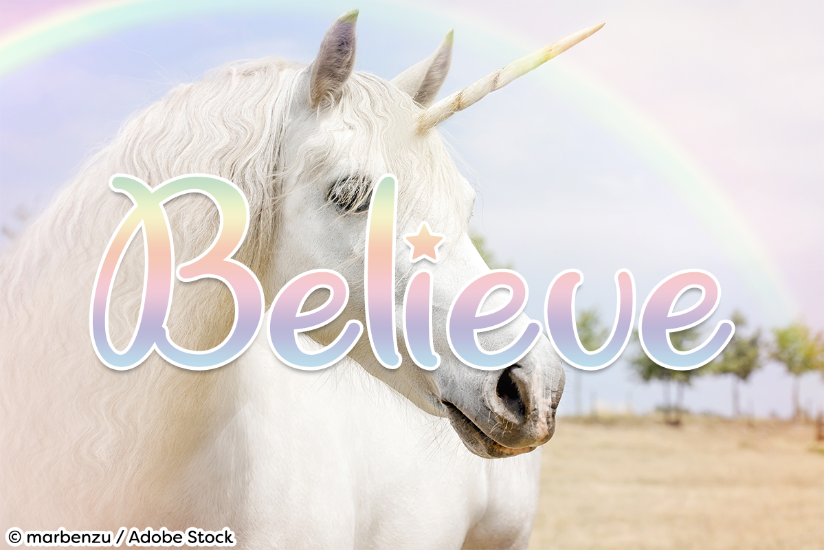 Unicorn Giggles by Misti's Fonts. Image credit: © marbenzu / Adobe Stock