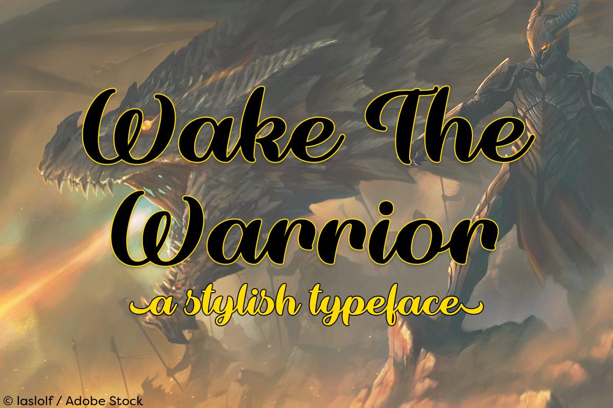 Wake The Warrior by Misti's Fonts. Image credit: © laslolf / Adobe Stock