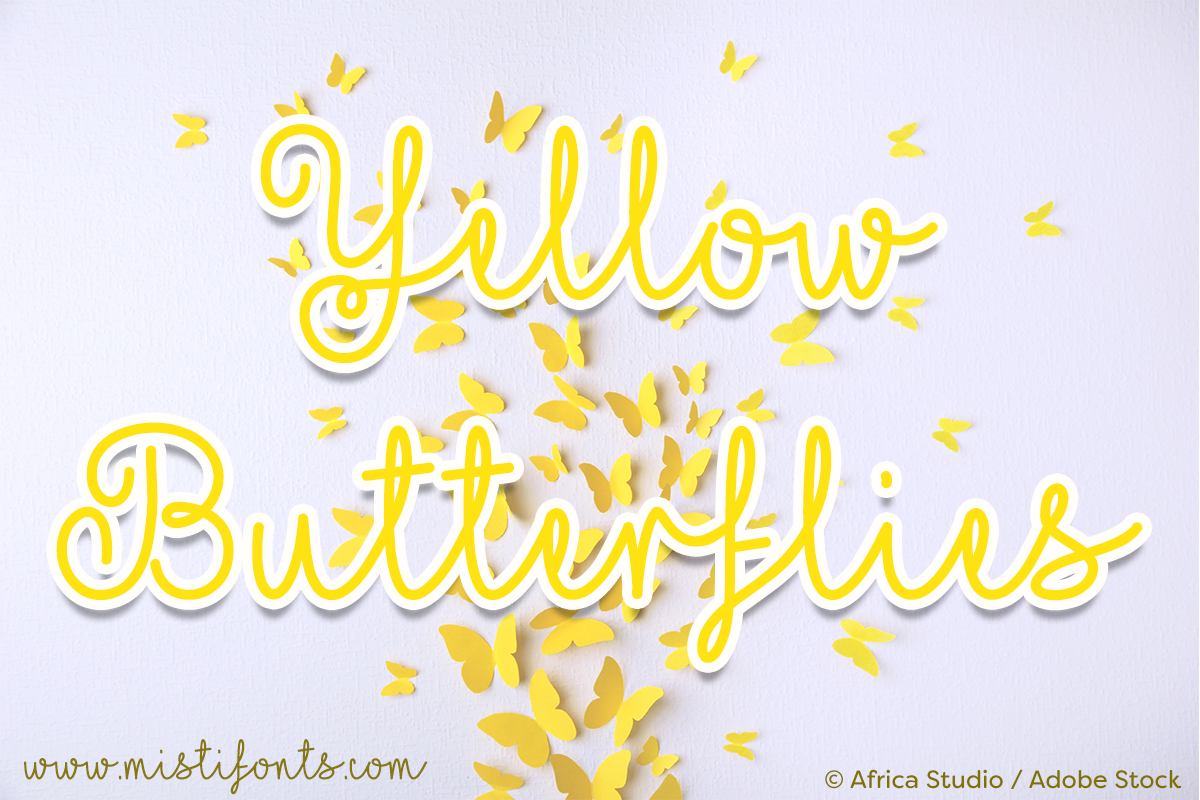 Yellow Butterflies by Misti's Fonts. Image Credit: © Africa Studio / Adobe Stock